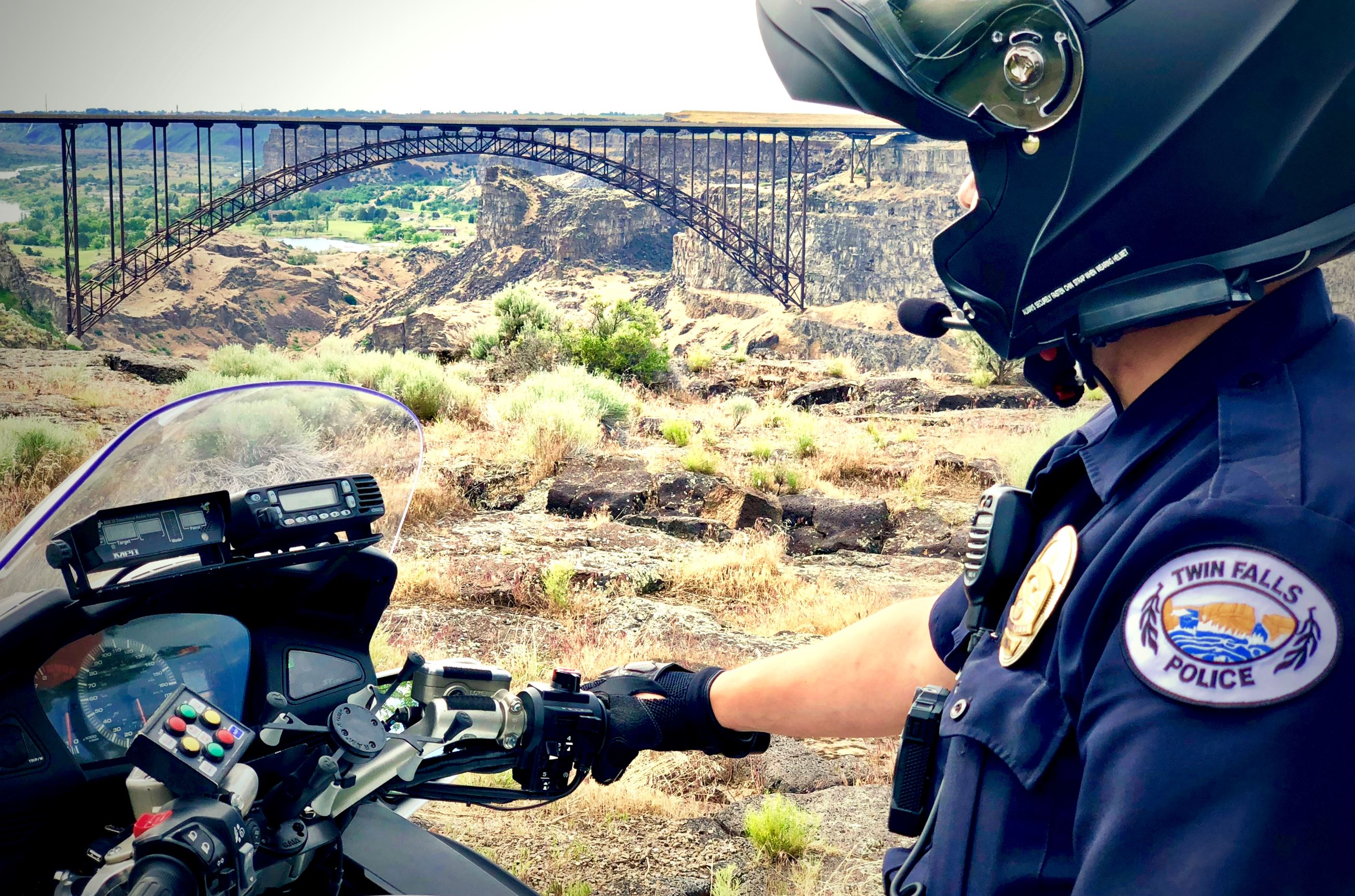 Twin Falls Police Patrol by Perrine Bridge