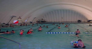 Community Swimming Pool with inflatable bubble